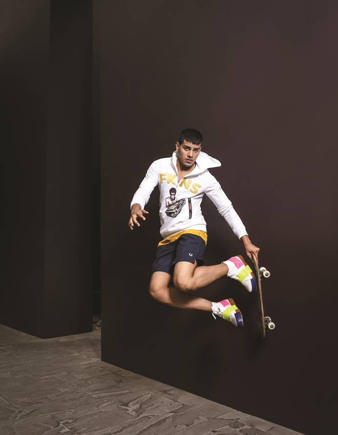 Sweatshirt, Narendra Kumar; Shorts, Fred Perry (The Collective); Sneakers Melissa