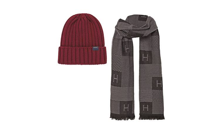 Rs 9,500 (scarf); Rs 4,500 (hat); Hackett London