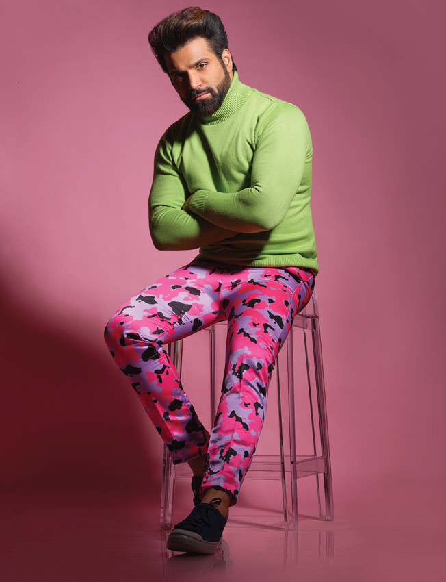rithvik dhanjani colourful trousers