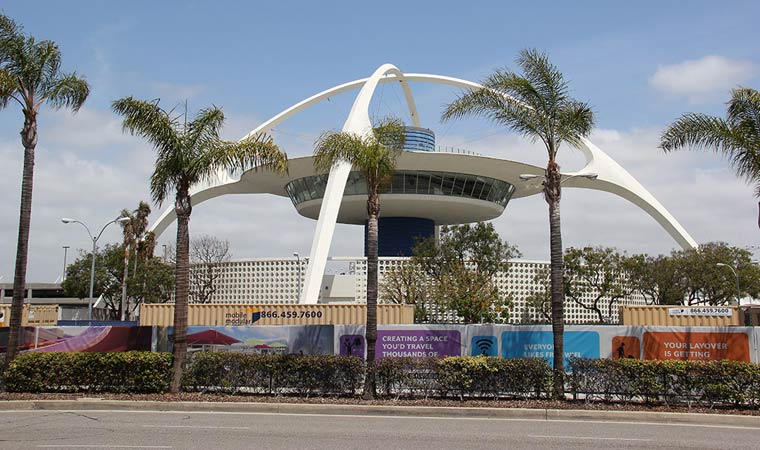 The 'Theme building' at Los Angeles airport is a classic example of the Googie architecture trend of the 1950s marked by space age symbolisms like upswept roofs and geometric shapes