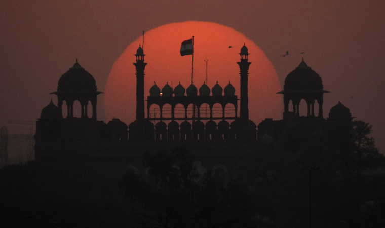 sunset over red fort