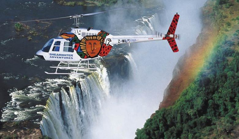 Helicoptering over Victoria Falls