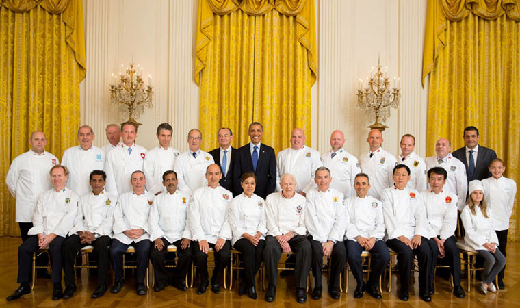 US President Barack Obama with Chefs des chefs members at the White House