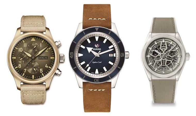IWC Pilot's Watch Chronograph TOP GUN Edition 'Mojave Desert, Rado Captain Cook Automatic, and Zenith Defy Classic Watch Exclusively For Farfetch (left to right)