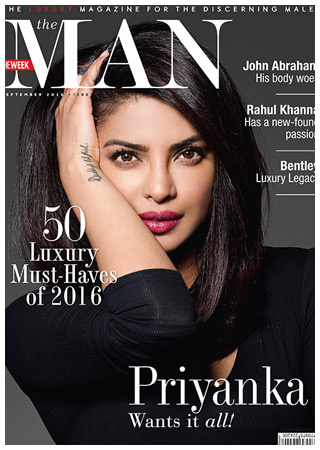 Priyanka on the cover of THE MAN in September 2016 after her breakthrough in the west