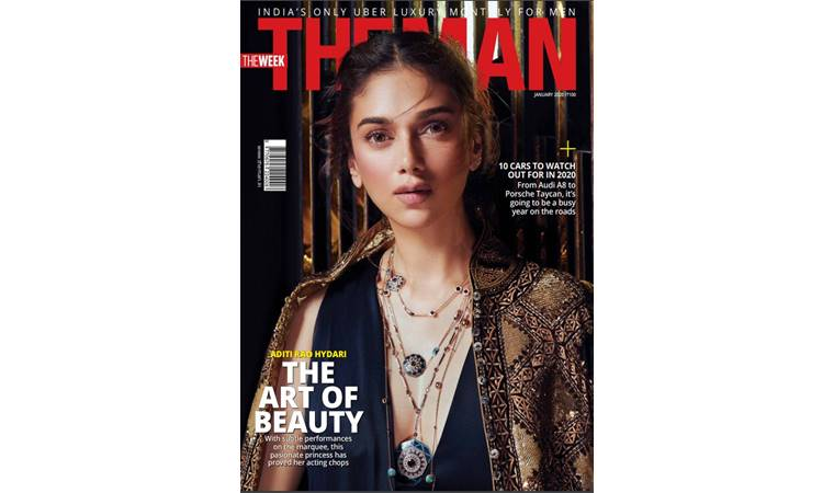 Aditi Rao Hydari is wearing Rohit Bal jacket, Rohit Gandhi +Rahul Khanna dress and Heart of Blue Sautoir necklace, Heart of Blue Medallion necklace and Poetry in Motion Classic necklace, all by Her Story