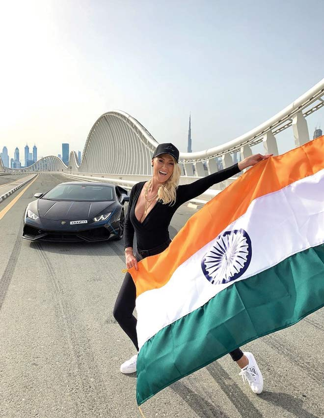 supercar blondie with indian flag